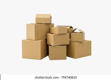 Stack of cardboard boxes in empty room in new home