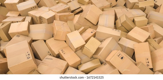 Stack of cardboard delivery boxes or parcels. shipping and logistics concept image