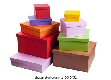 stack of cardboard gift boxes. shopping. isolated on white