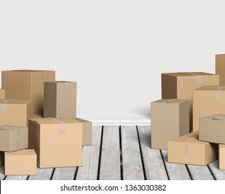 Stack cardbox on desk