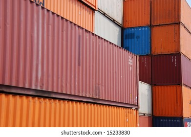 Stack of cargo container in a harbor