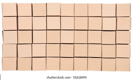 Stack of carton boxes package on white background with clipping path