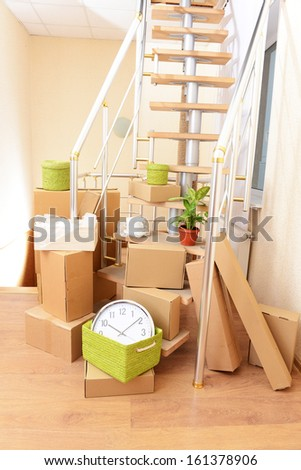Stack Cartons Near Stairs Moving House Stock Photo Edit Now