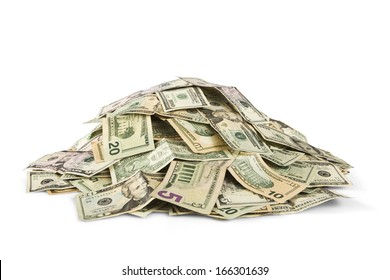 stack of cash isolated on white background