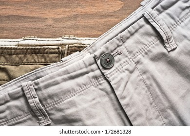 Stack of casual cotton men's trousers
