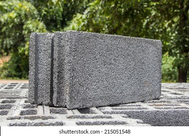 Stack of cement blocks at the construction site