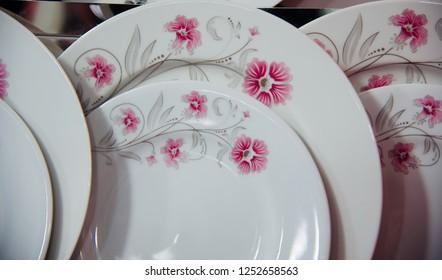 Stack of ceramic plates with stylish design unique photo