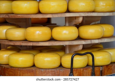Stack of cheese in a shop from Delft, Netherlands