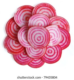 Stack of Chioggia beet slices, isolated