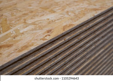 stack chipboard planks , plywood  osb  panels -
