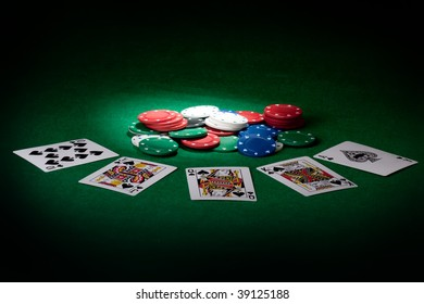 Stack of chips and Royal flush