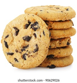 A stack of chocolate chip cookies. Isolated on a white background.