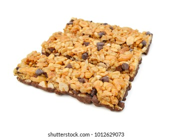 Stack chocolate chip with peanuts protein bars isolated on a white background.