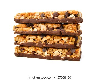Stack chocolate chip with peanuts protein bars isolated on a white