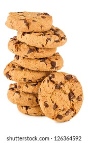 stack of chocolate cookies in front of white background