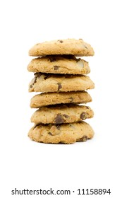 Stack of chocolate cookies. Isolated on white