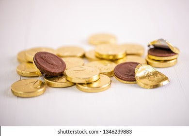 stack of chocolate money euro coins