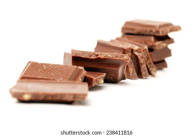 stack of chocolate on white background