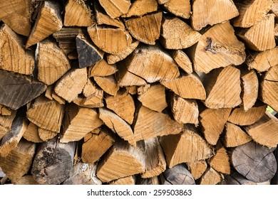 Stack of chopped hard wood.