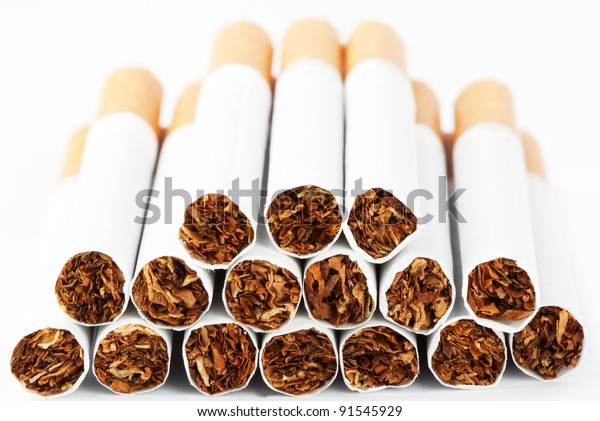 Stack of cigarette on the white background