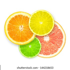 Stack of citrus fruit slices  isolated on white background.