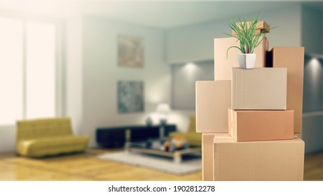 Stack of classic cardboard boxes in room