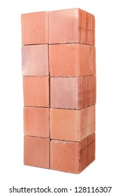 Stack of clay bricks isolated on white