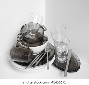 Stack of clean dishes on the counter