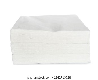 Stack of clean paper napkins on white background