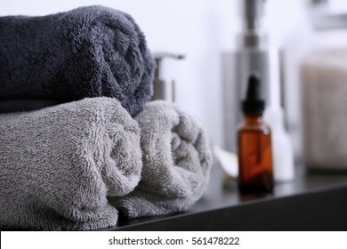 Stack of clean towels, closeup
