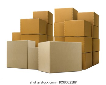Stack of closed cardboard boxes isolated on white background
