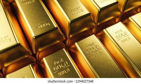 Stack close-up Gold Bars, weight of Gold Bars 1000 grams Concept of wealth and reserve. Concept of success in business and finance