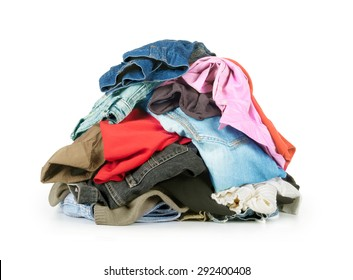 stack of clothes isolated on white