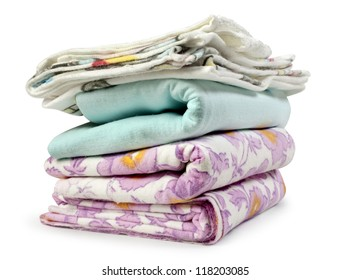 stack clothes on white background