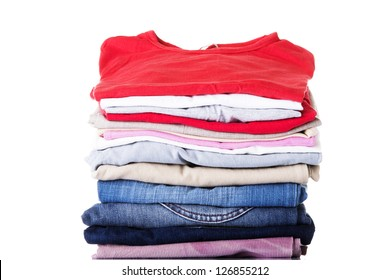 Stack of clothing isolated on white