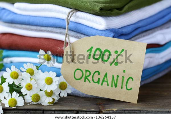 stack of  clothing with organic label