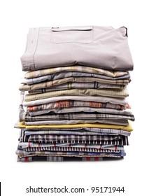 stack of clothing,shirt, isolated on white