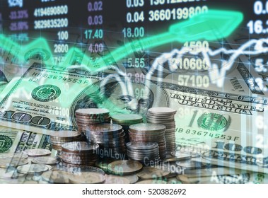 Stack of coins and american dollars money over the LED display Stock market exchange data background, Business investment and trading concept