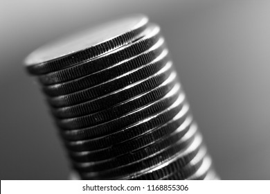 Stack of coins black and white macro. Ukrainian coins , Concept of saving money