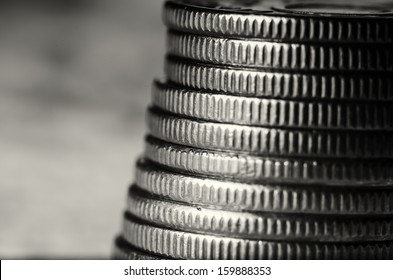 Stack of coins black and white macro