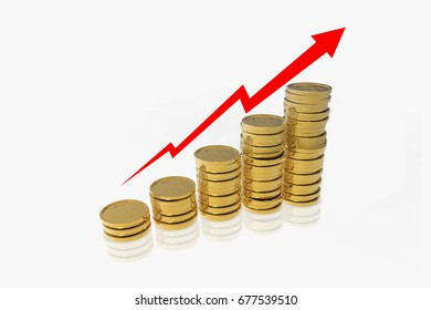 Stack of coins or coin pile on white background, 3d rendered