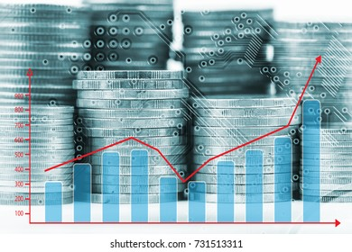 Stack of coins and growing graph for business finance concept