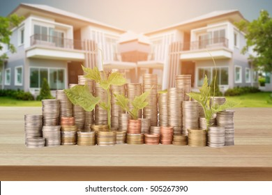 stack of coins For Homebuyers on wood background,The concept saving