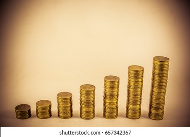 Stack of coins on a dark background