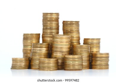 Stack of coins with   on white background