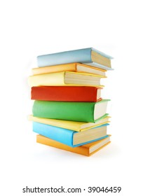A stack of color books on the white background