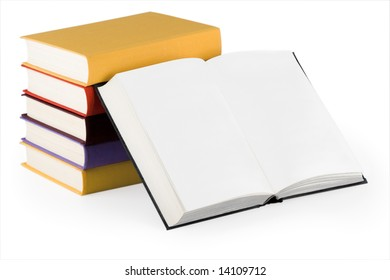 Stack of color books with open one