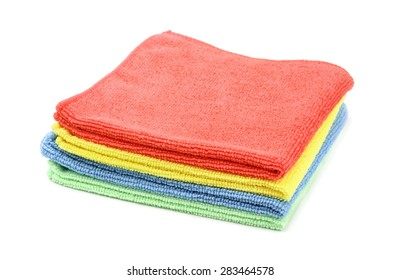 Stack of color microfiber cloths isolated on white