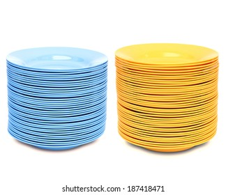 stack of color plate isolated on white background