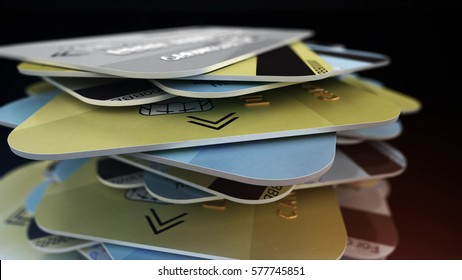 A stack of colored bank cards. Depth of fields. 3d rendering.